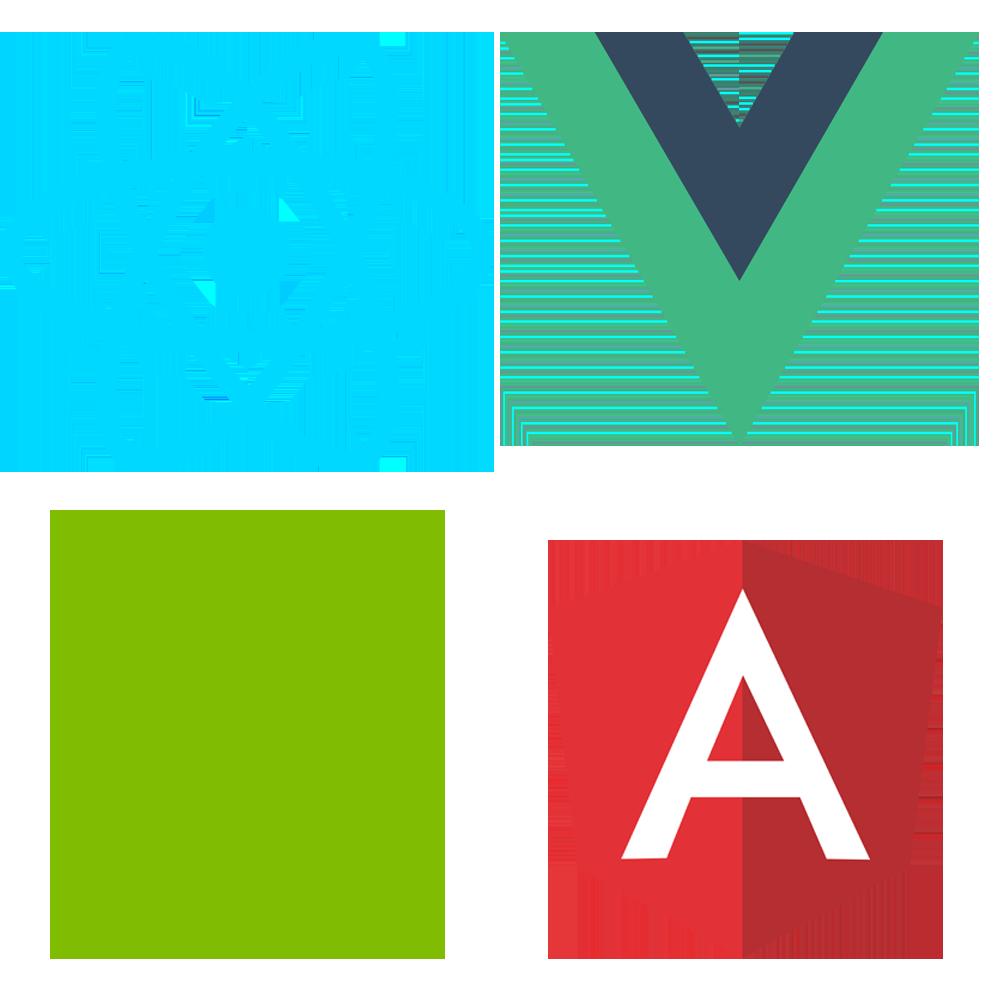 Meie front-end arendus toetub Node arendusele, React arendusele, Angular arendusele ja Vue arendusele